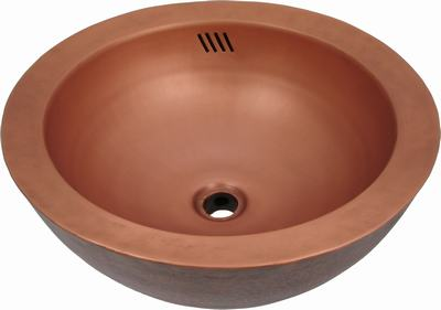 Copper sink bowl in old penny patina