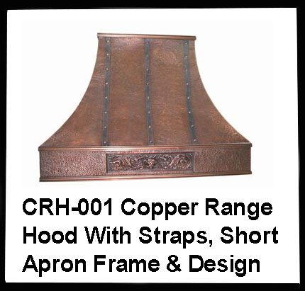 copper range hood with straps and short frame design