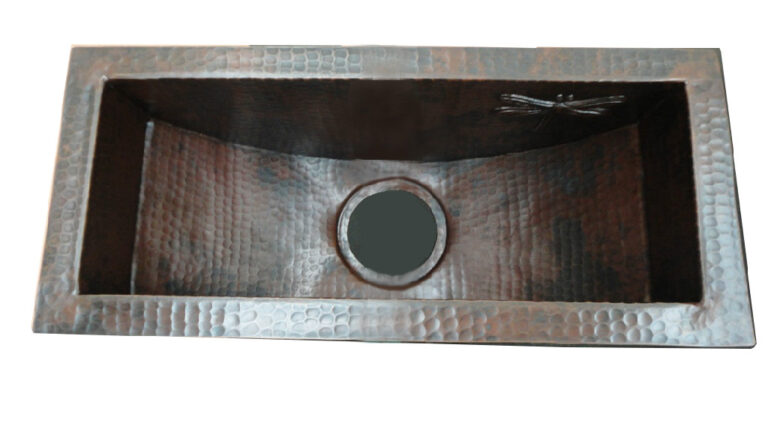 copper sink dark brown patina