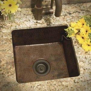 copper sink installed
