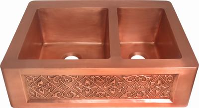 copper sink in old penny patina finish