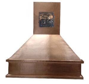copper range hood wtih elk tile design