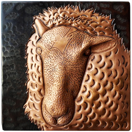 custom copper tile with sheep design