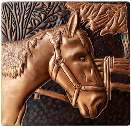 Copper tile with horse design