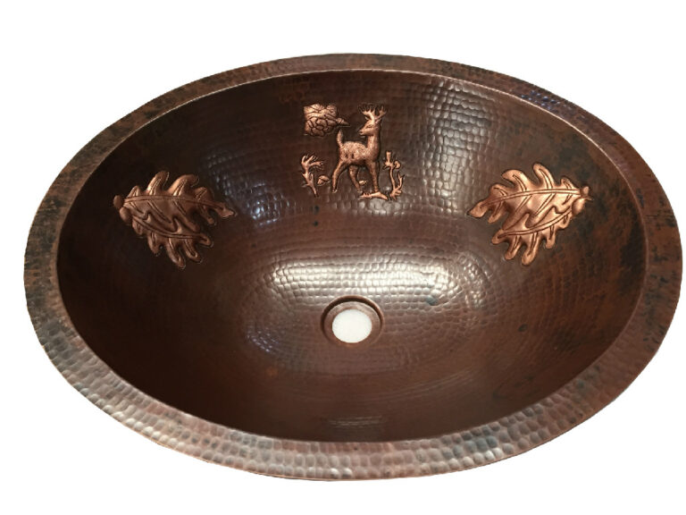 copper sink with custom designs