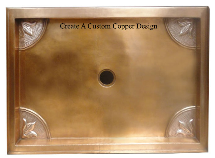 copper shower pan with custom design added