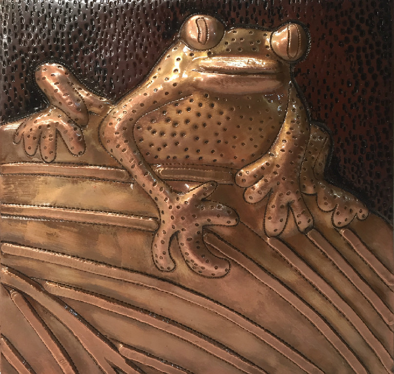 Copper tile with frog design