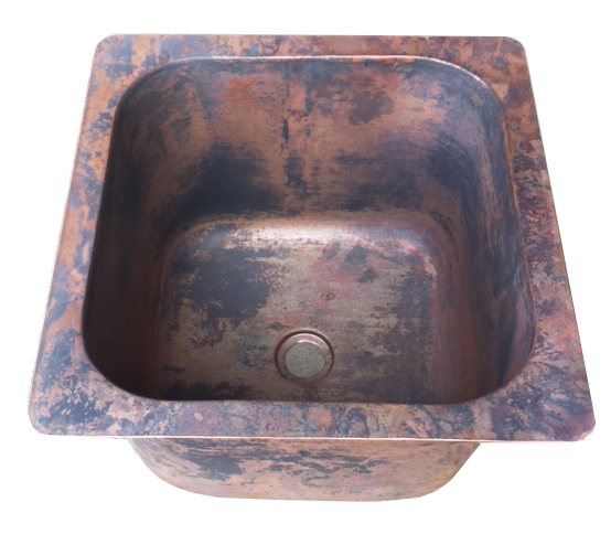 bar sink in Raw Copper Patina