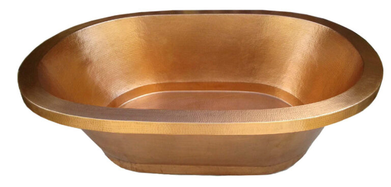 copper bath tub with golden bronze patina finish