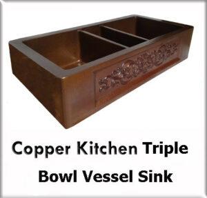 Copper kitchen triple bowl vessel sinks