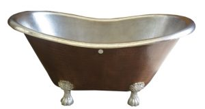 copper bath tub with nickel plated coffe patina finish