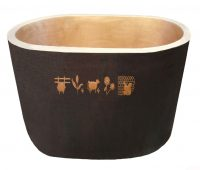 japanese copper tub with front design